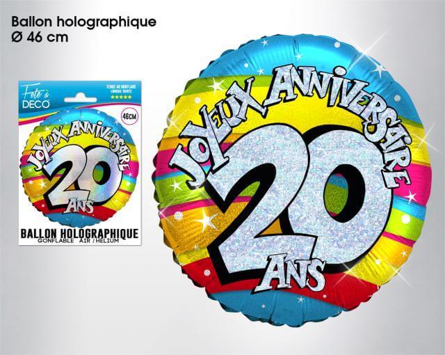 Ballon holographique anniversaire 20ans