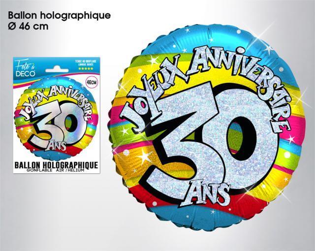 Ballon holographique anniversaire 30ans