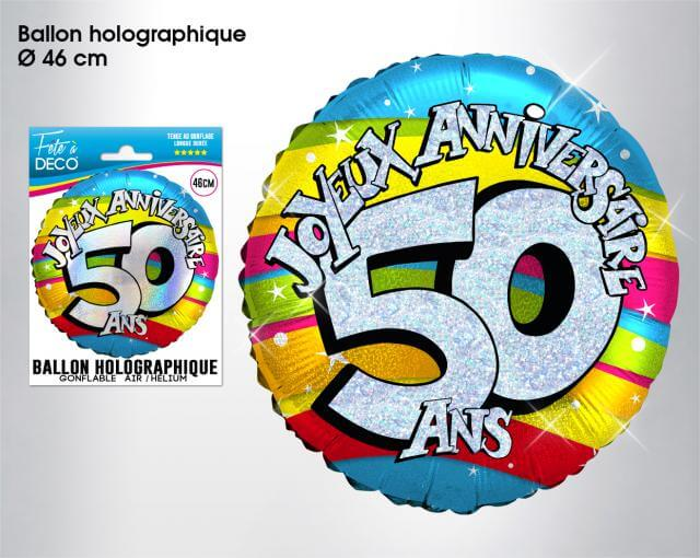 Ballon holographique anniversaire 50ans