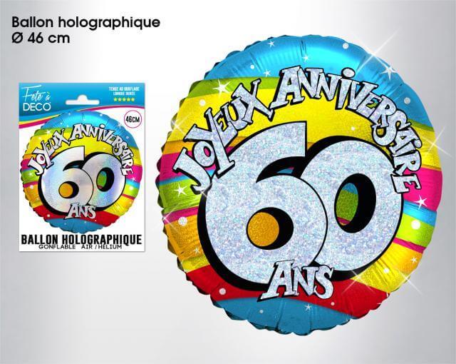 Ballon holographique anniversaire 60ans