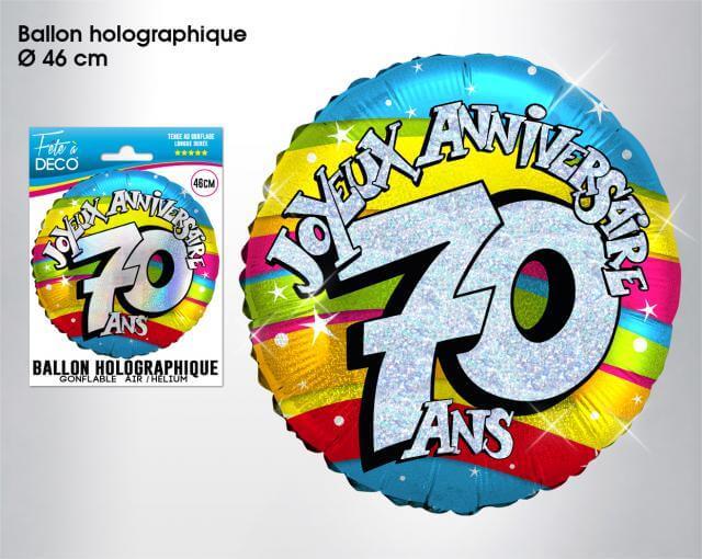 Ballon holographique anniversaire 70ans