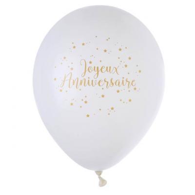 Ballon joyeux anniversaire blanc et or (x8) REF/5662