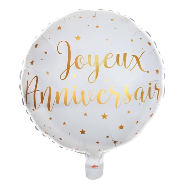 Ballon joyeux anniversaire aluminium blanc et or