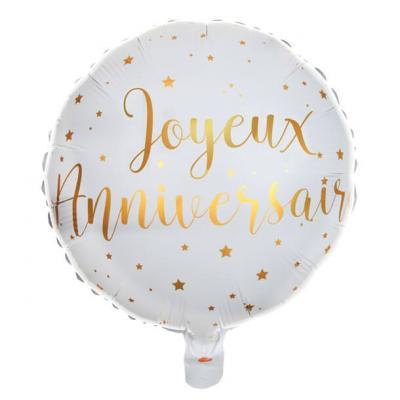 Ballon joyeux anniversaire blanc et or (x1) REF/6238