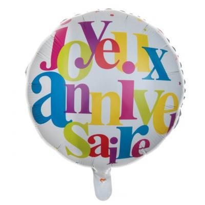 Ballon joyeux anniversaire multicolore (x1) REF/6237