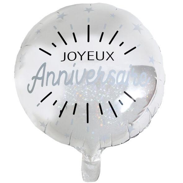 Ballon joyeux anniversaire argent metallique en aluminium