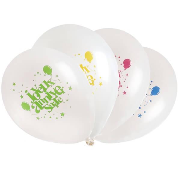 Ballon joyeux anniversaire blanc et multicolore en latex
