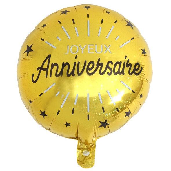 Ballon joyeux anniversaire noir et or metallique en aluminium