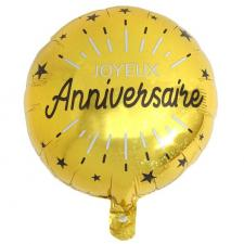 Ballon joyeux anniversaire or métallique en aluminium 35cm (x1) REF/6650