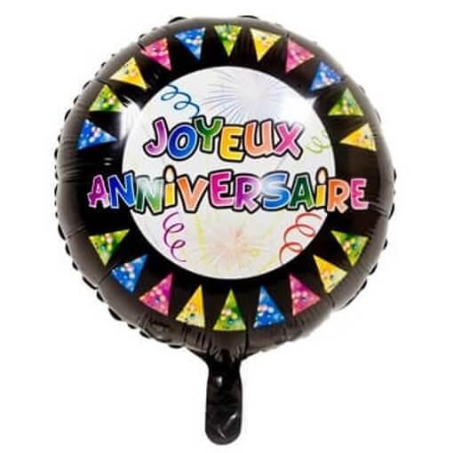 Ballon joyeux anniversaire noir multicolore en aluminium