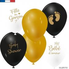 Ballon Baby Shower Fille ou Garçon en latex noir, doré et blanc de 30cm (x6) REF/45840
