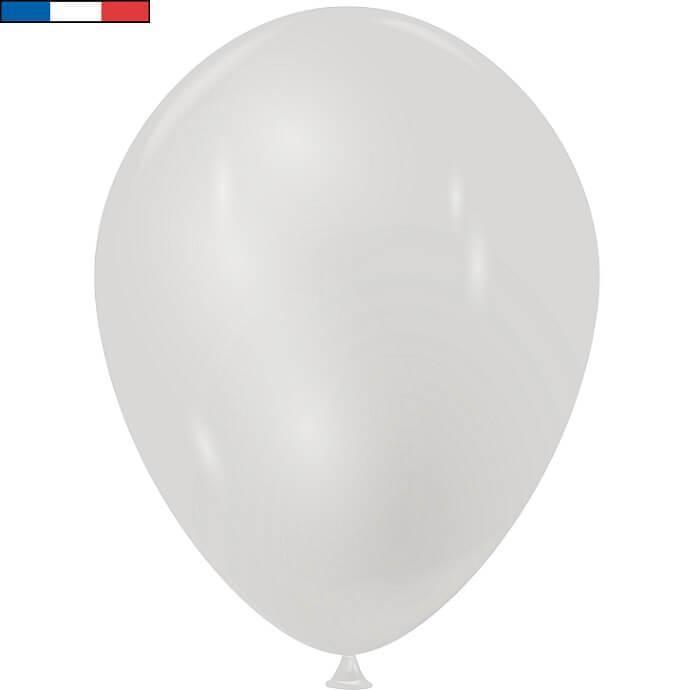 Ballon latex francais 30cm argent metallique