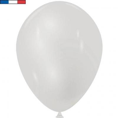 Ballon latex naturel opaque français 30cm argent métallique (x50) REF/30556