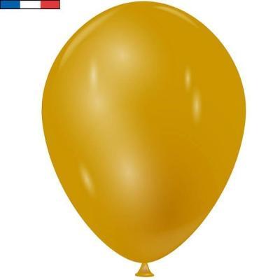 Ballon latex naturel opaque français 30cm or métallique (x50) REF/30563