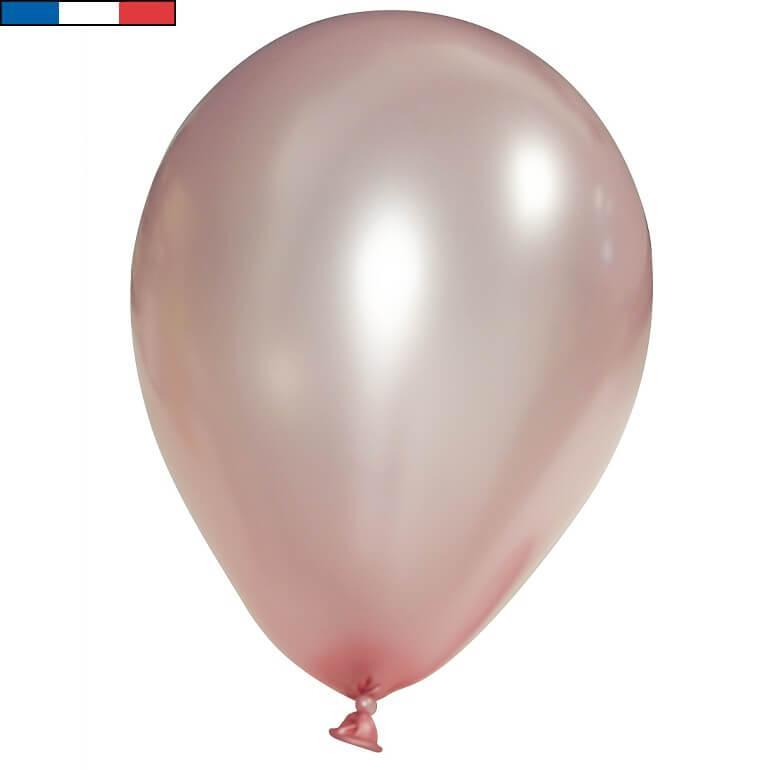 Ballon latex francais 30cm rose gold metallique