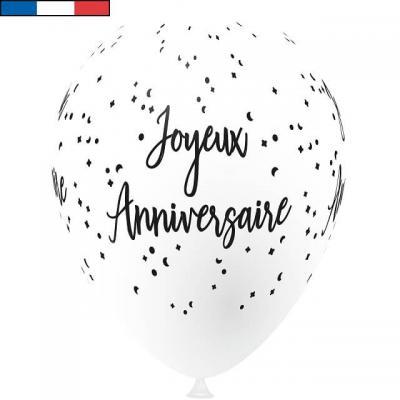 Ballon français joyeux anniversaire blanc en latex 30cm (x8) REF/9323