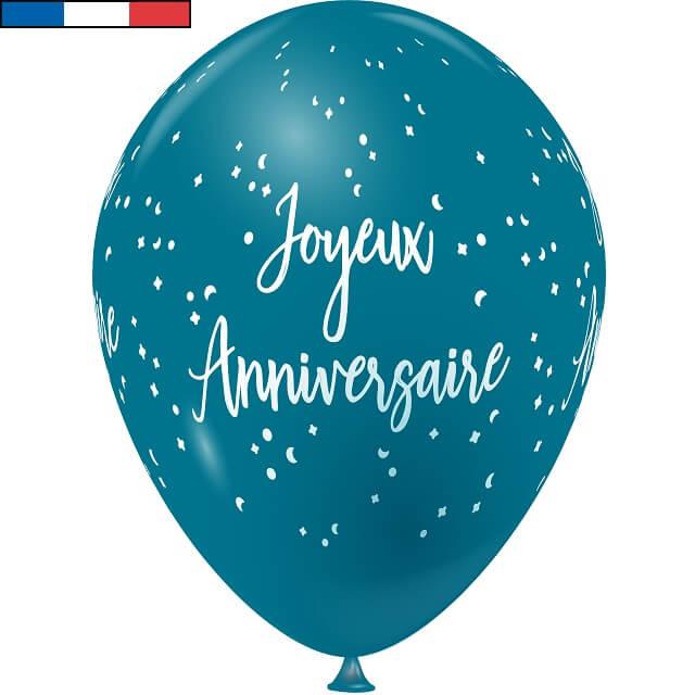 Ballon latex joyeux anniversaire bleu turquoise et blanc de fabrication francaise