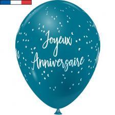 Ballon français joyeux anniversaire bleu turquoise en latex 30cm (x8) REF/9323