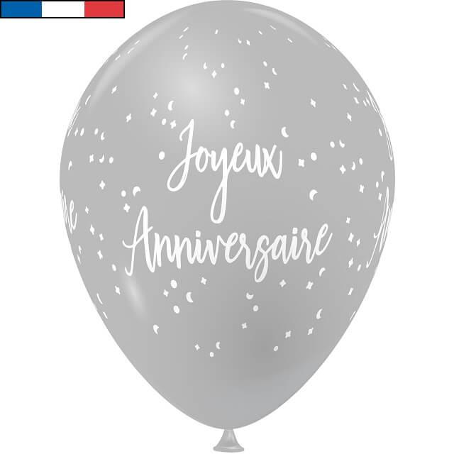 Ballon latex joyeux anniversaire gris et blanc de fabrication francaise