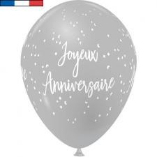 Ballon français joyeux anniversaire gris en latex 30cm (x8) REF/9323