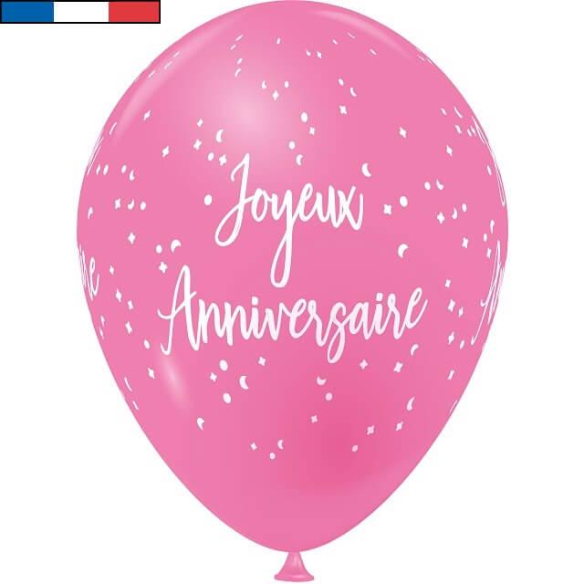 Ballon latex joyeux anniversaire rose bonbon et blanc de fabrication francaise