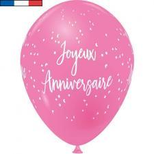 Ballon français joyeux anniversaire rose bonbon en latex 30cm (x8) REF/9323