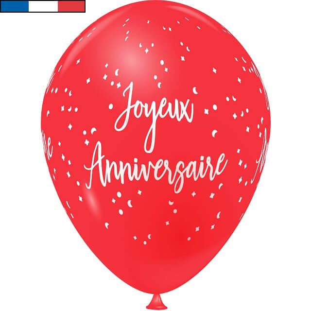 Ballon latex joyeux anniversaire rouge et blanc de fabrication francaise