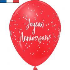 Ballon français joyeux anniversaire rouge en latex 30cm (x8) REF/9323