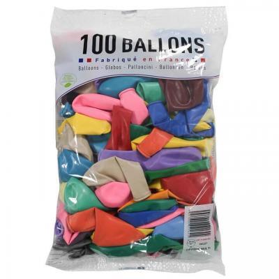 Ballon français en latex opaque 25cm multicolore (x100) REF/0214