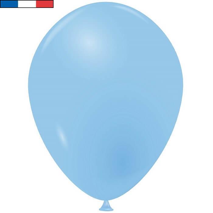 Ballon latex naturel francais 25cm bleu ciel
