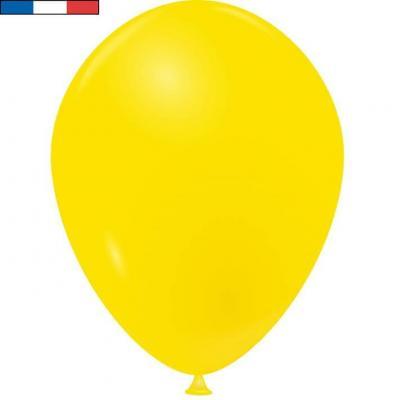 Ballon latex naturel opaque français jaune (x50) REF/32260
