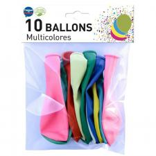 Ballon opaque français en latex multicolore 25/29cm (x10) REF/0375