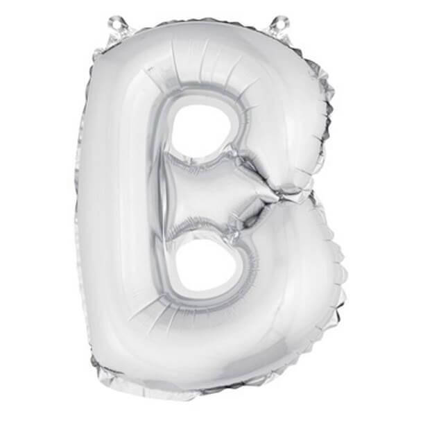 Ballon lettre b metallique argent