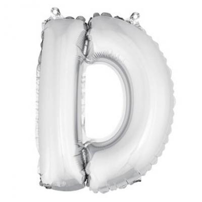 Ballon métallique argent, lettre D (x1) REF/BA3005