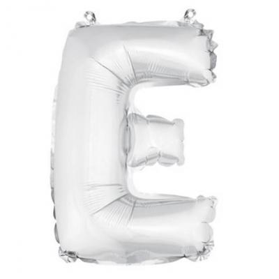 Ballon métallique argent, lettre E (x1) REF/BA3005