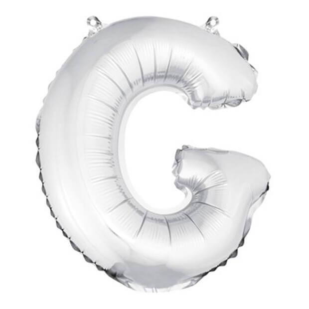 Ballon lettre g metallique argent