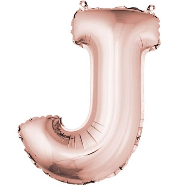 Ballon lettre j rose gold en aluminium 36cm