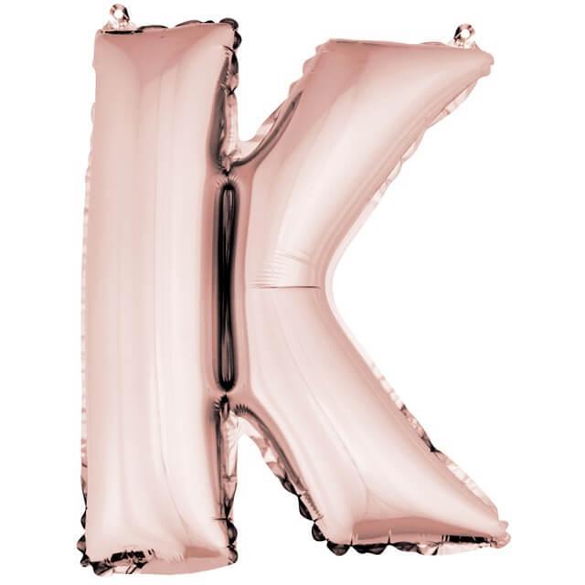 Ballon lettre k rose gold en aluminium 36cm