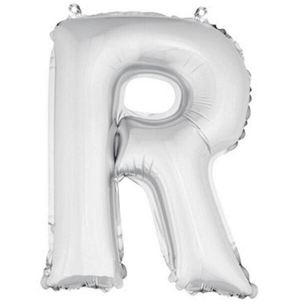 Ballon lettre r metallique argent