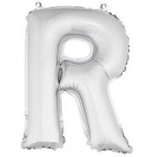 Ballon métallique argent, lettre R (x1) REF/BA3005