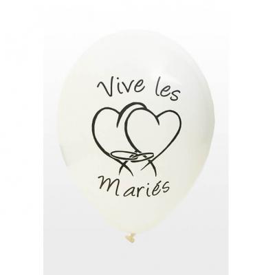 Ballon mariage vive les mariés blanc (x8) REF/BAL225