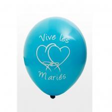 Ballon mariage vive les mariés bleu turquoise (x8) REF/BAL225