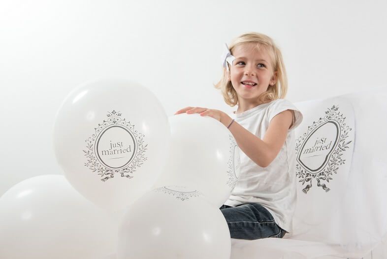 Ballon mariage just married en latex blanc