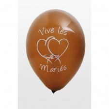 Ballon mariage vive les mariés marron (x8) REF/BAL225