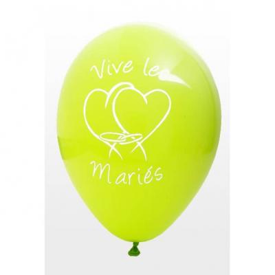 Ballon mariage vive les mariés vert menthe (x8) REF/BAL225