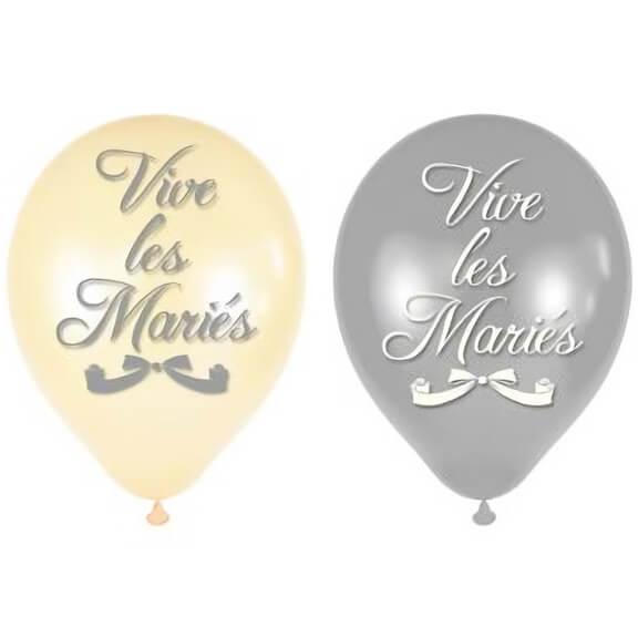 Ballon mariage vive les maries blanc et argent en latex