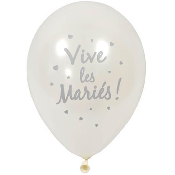 Ballon mariage vive les maries blanc et argent