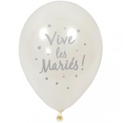 Ballon nacré mariage blanc et argent 30cm (x6) REF/BAL212