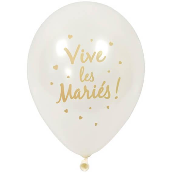 Ballon mariage vive les maries blanc et or