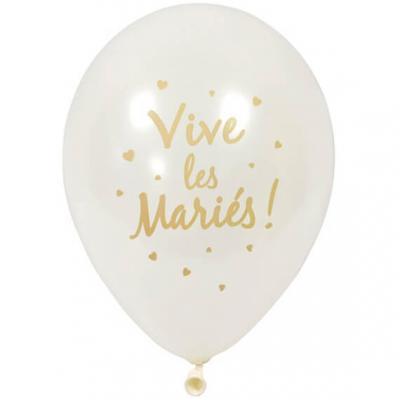 Ballon nacré mariage blanc et or 30cm (x6) REF/BAL212